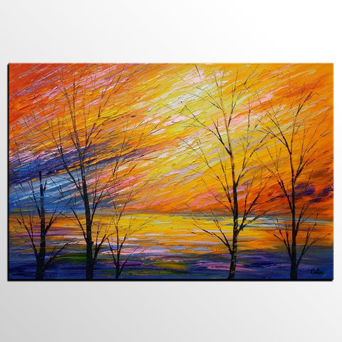 Abstract Art, Sunset Sky Painting, Oil Painting, Modern Art, Canvas Art - artworkcanvas