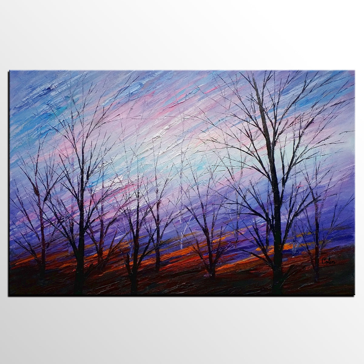 Abstract Art, Colorful Sky Painting, Oil Painting, Abstract Painting, Modern Art, Canvas Art, Living Room Wall Art, Canvas Painting