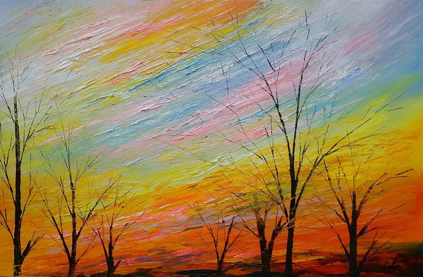 Art Painting, Original Painting, Colorful Sky Painting, Landscape Painting, Wall Art, Oil Painting, Canvas Wall Art, Abstract Art, Large Art - artworkcanvas