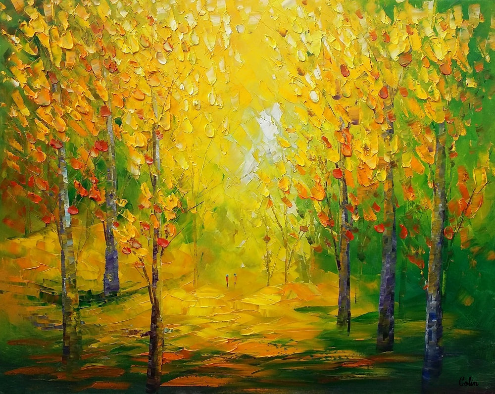 Abstract Art, Landscape Painting, Rustic Art, Oil Painting Canvas, Original Wall Art, Abstract Autumn Painting