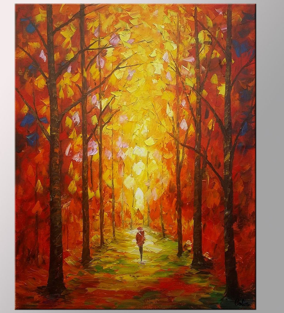 Autumn Forest Painting, Kitchen Wall Art, Landscape Painting, Large ...