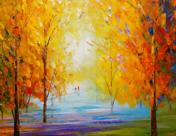 Canvas Oil Painting, Landscape Painting, Abstract Art, Large Wall Art, Abstract Painting, Original Art, Autumn Forest Painting