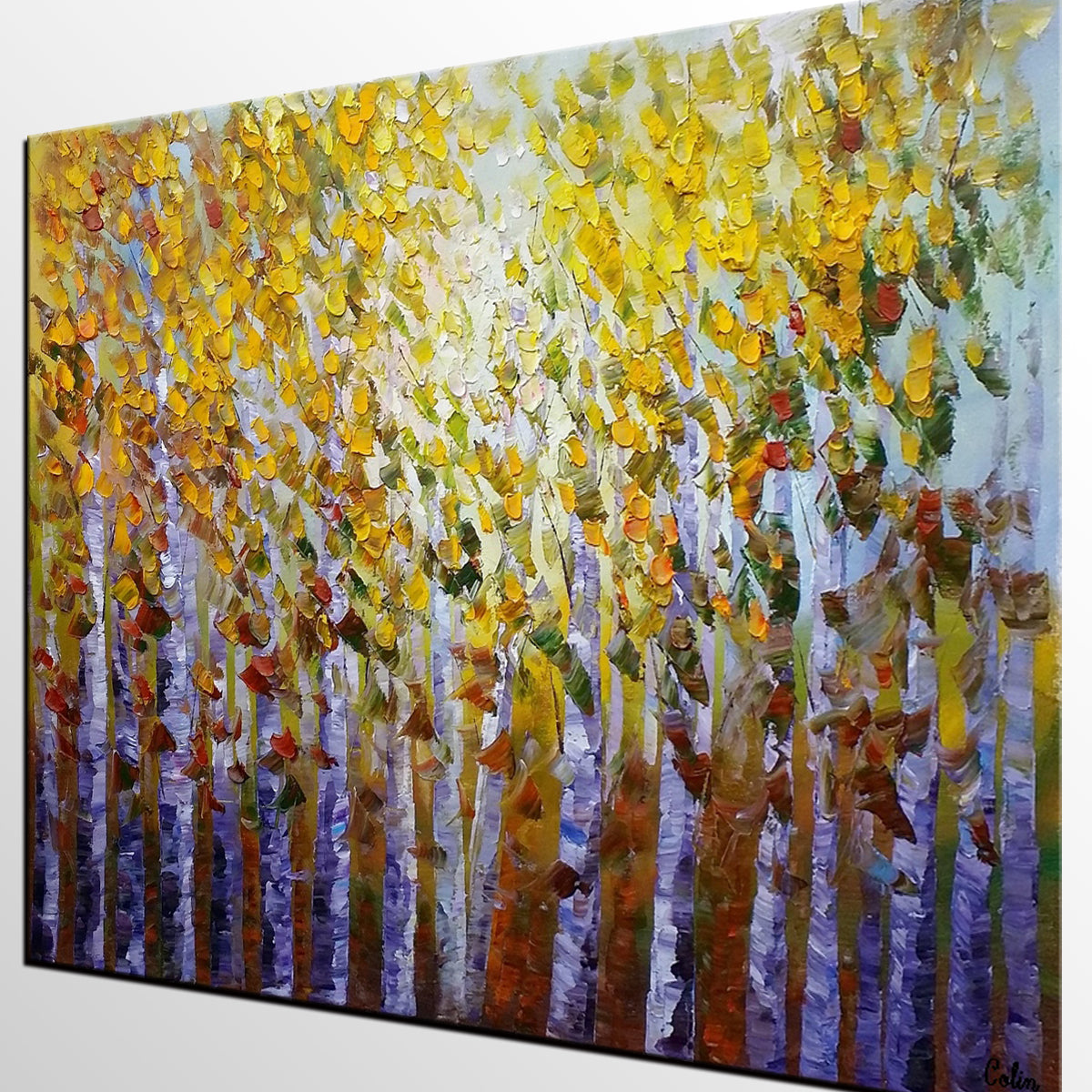 Forest Tree Painting, Landscape Painting, Rustic Wall Art, Bedroom Wall Art, Abstract Art, Large Abstract Painting, Original Oil Painting