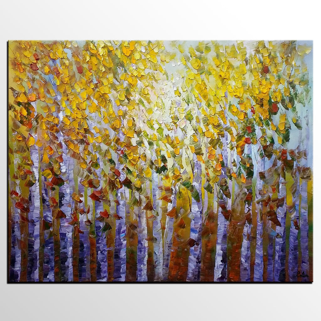 Forest Tree Painting, Landscape Painting, Rustic Wall Art, Bedroom ...