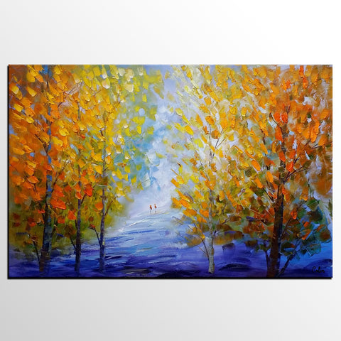 Autumn Forest Painting, Original Wall Art, Landscape Painting, Large Art, Canvas Art, Rustic Wall Art, Original Artwork, Canvas Painting, Modern Art - artworkcanvas