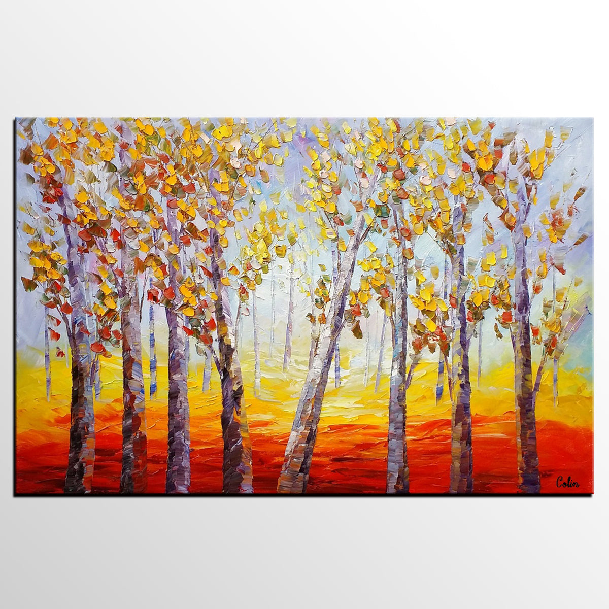 Oil Painting, Forest Tree Painting, Large Abstract Painting, Landscape Art, Modern Art, Canvas Art, Living Room Wall Art, Canvas Painting