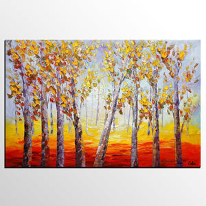 Oil Painting, Forest Tree Painting, Large Abstract Painting, Landscape Art, Modern Art, Canvas Art, Living Room Wall Art, Canvas Painting - artworkcanvas
