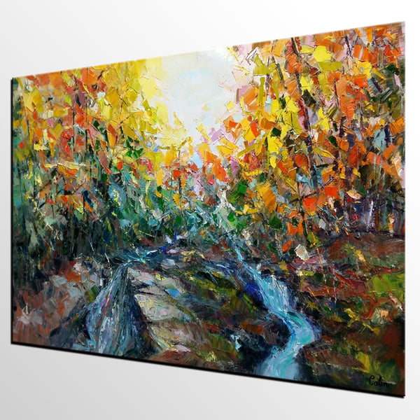 Abstract Art, Forest River Painting, Oil Painting, Abstract Painting, Modern Art, Large Canvas Art, Living Room Wall Art, Canvas Painting