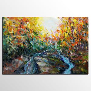 Abstract Art, Forest River Painting, Oil Painting, Abstract Painting,  Modern Art,