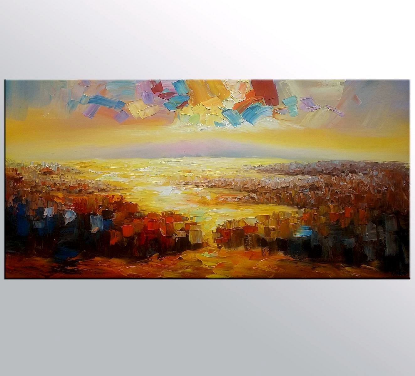 Large Art, Original Wall Art, Abstract Landscape Painting, Oil Painting, Canvas Art, Wall Art, Contemporary Artwork, 371