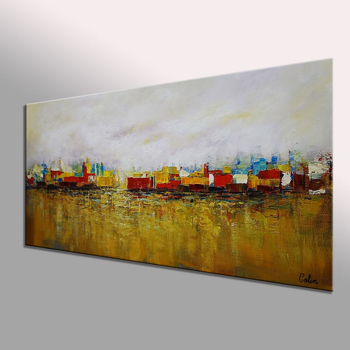 Cityscape Art, Canvas Wall Art, Landscape Painting, Contemporary Artwork, Art on Canvas