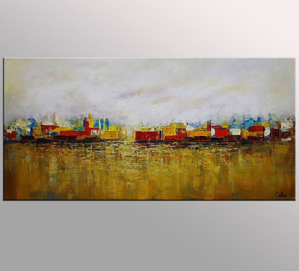 Cityscape Art, Canvas Wall Art, Landscape Painting, Contemporary ...