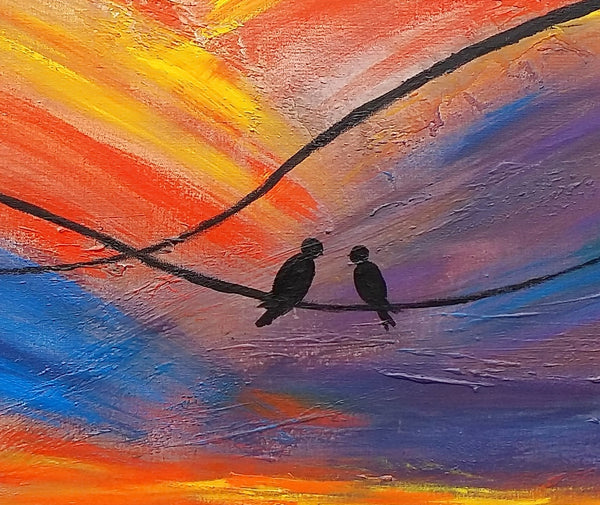 Love Birds Painting, Bedroom Wall Art, Abstract Painting, Large Art, Canvas Art, Wall Art, Original Artwork, Canvas Painting, 376