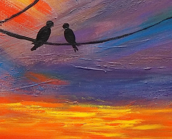 Love Birds Painting, Bedroom Wall Art, Abstract Painting, Large Art, Canvas Art, Wall Art, Original Artwork, Canvas Painting, 376 - artworkcanvas