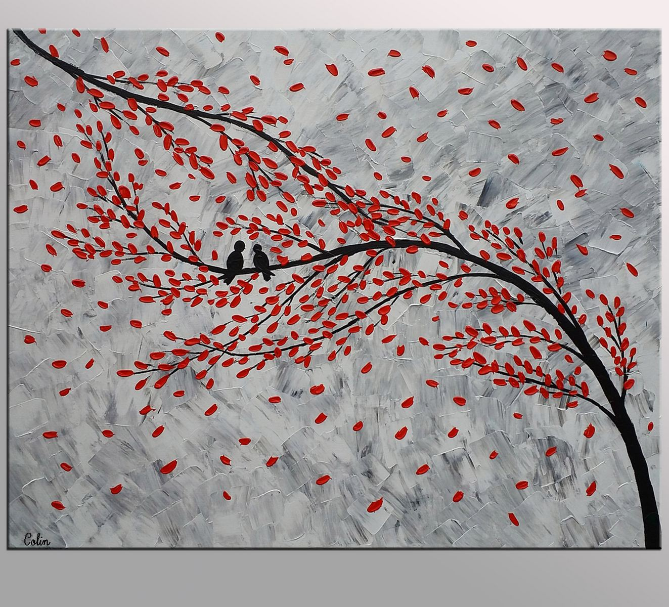 Abstract Painting Love, Love Birds Painting, Original Art Painting