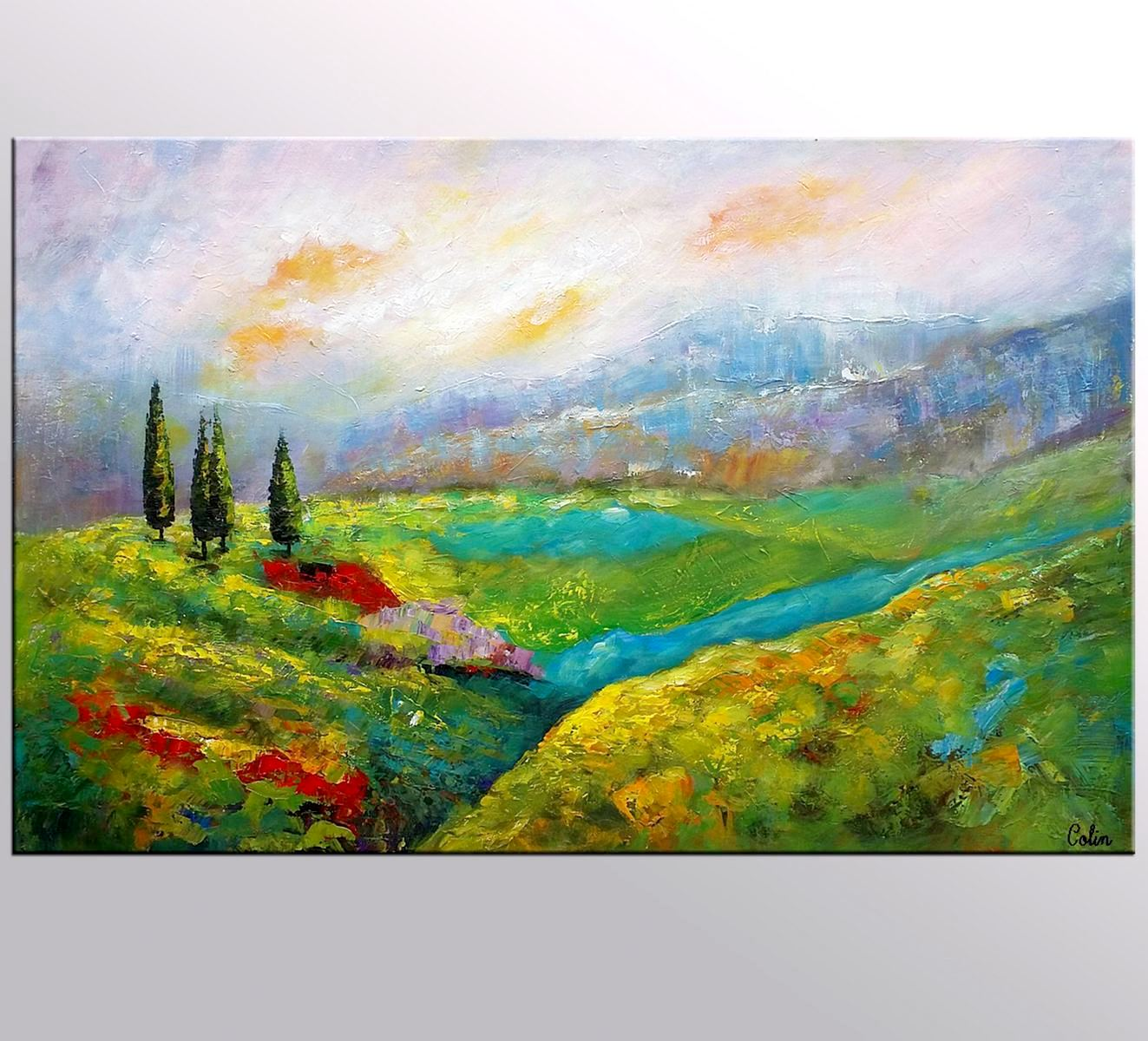 Mountain Landscape Painting, Large Art, Canvas Art, Wall Art, Original Painting, Canvas Painting, Modern Art, Stretched Art, 384