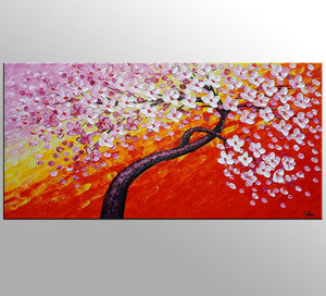 Flower Tree Painting, Canvas Wall Art, Flower Painting, Large Art, Canvas Art, Wall Art, Original Art, Canvas Painting, 387 - artworkcanvas