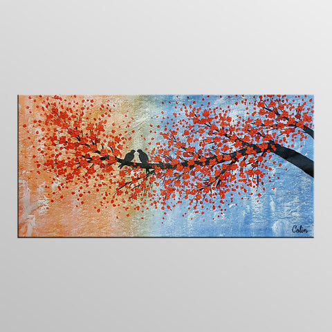 Abstract Art, Love Birds Painting, Canvas Wall Art, Original Painting, Canvas Painting