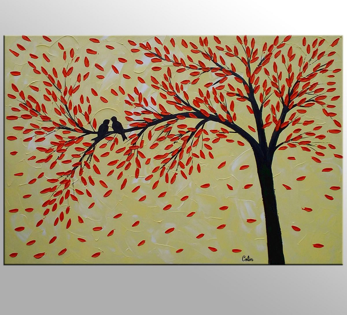 Love Birds Painting, Original Wall Art, Abstract Painting, Large Art, Canvas Art, Wall Art, Bedroom Artwork, Canvas Painting,389