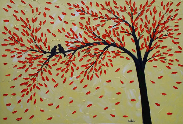 Love Birds Painting, Original Wall Art, Abstract Painting, Large Art, Canvas Art, Wall Art, Bedroom Artwork, Canvas Painting,389 - artworkcanvas
