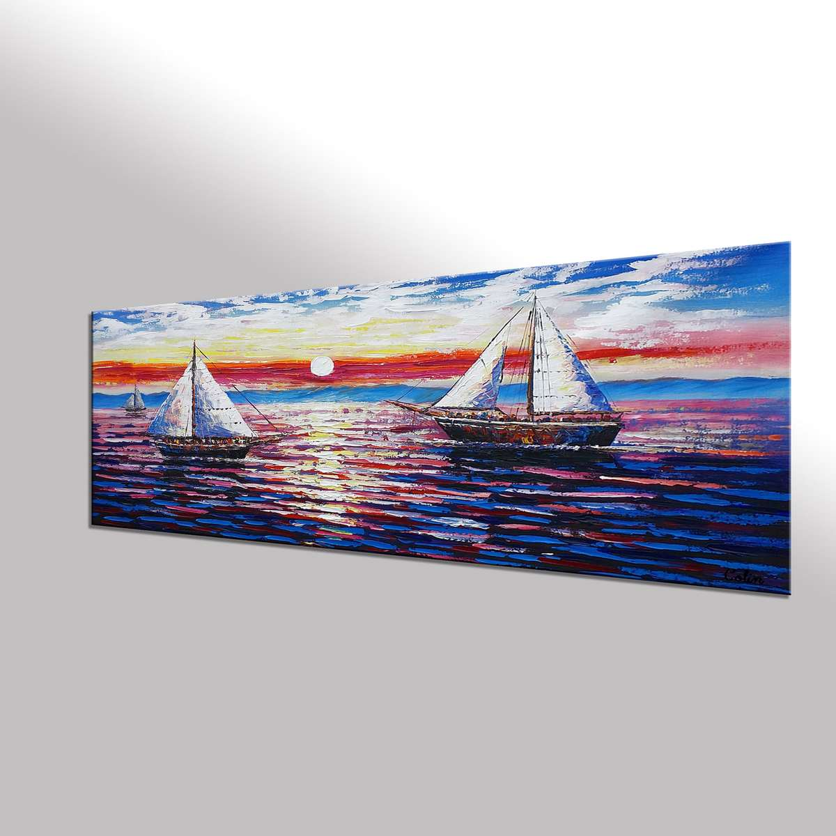 Sail Boat Painting, Original Wall Art, Seascape Painting, Framed Art, Canvas Art, Wall Art, Original Art, Canvas Painting, 391