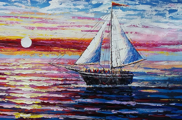 Original Painting, Sail Boat Painting, Seascape Painting, Framed Art, Canvas Art, Wall Art, Canvas Art, Canvas Painting, 392-artworkcanvas
