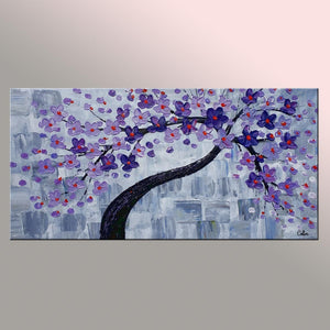 Flower Tree Painting, Original Wall Art, Flower Painting, Abstract Art, Canvas Art, Wall Art, Original Painting, 399 - artworkcanvas