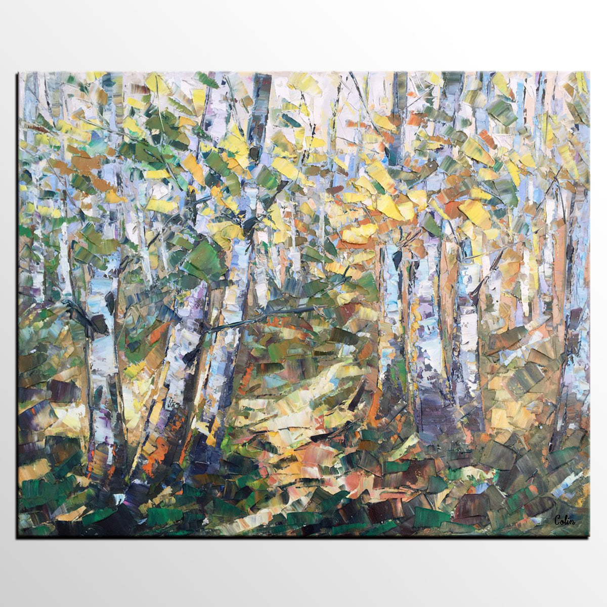 Autumn Forest Art, Abstract Painting, Landscape Painting, Canvas Wall Art, Oil Painting - artworkcanvas