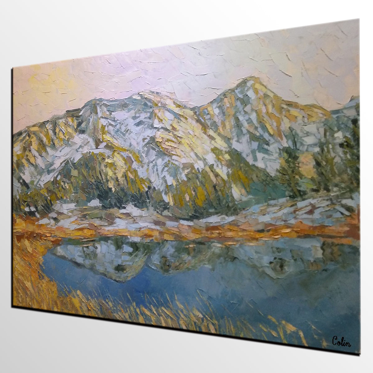 Mountain Landscape Art, Wall Art, Original Artwork, Canvas Painting, Modern Art