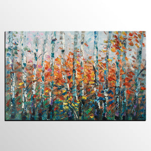 Birch Tree Wall Art, Custom Artwork, Art on Canvas, Living Room Wall Art, Ready to Hang