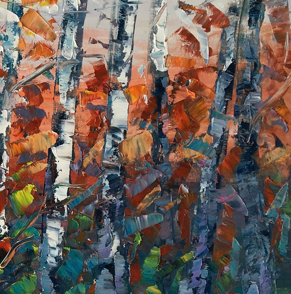 Birch Tree Wall Art, Abstract Painting, Canvas Art, Living Room Wall Art, Original Artwork, Canvas Painting, Abstract Art - artworkcanvas