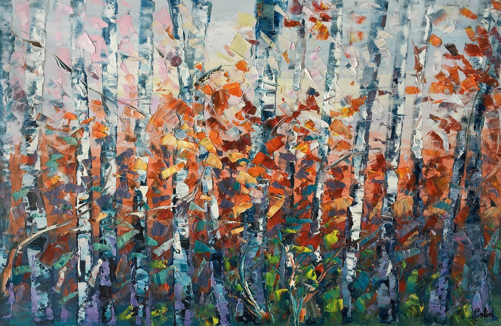 Modern Art, Wall Painting, Birch Tree Wall Art, Abstract Painting, Canvas Art, Living Room Wall Art, Original Artwork, Canvas Painting, Abstract Art