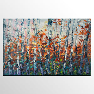 Birch Tree Wall Art, Abstract Painting, Canvas Art, Living Room Wall Art, Original Artwork, Canvas Painting, Abstract Art