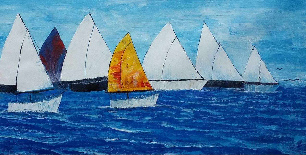 Sail Boat Painting, Seascape Painting, Large Art, Canvas Art, Wall Art, Canvas Artwork, Canvas Painting, Abstract Art, 404