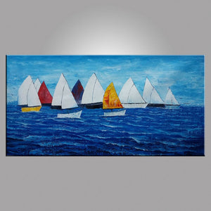 Sail Boat Painting, Seascape Painting, Large Art, Canvas Art, Wall Art, Canvas Artwork, Canvas Painting, Abstract Art, 404 - artworkcanvas