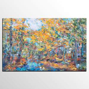 Forest Tree Painting, Landscape Painting, Abstract Art, Original Oil Painting