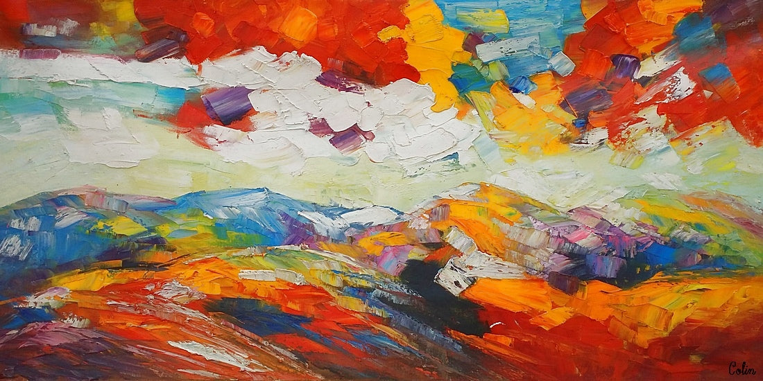 Mountain Oil Painting, Heavy Texture Art, Abstract Art Painting, Large Art