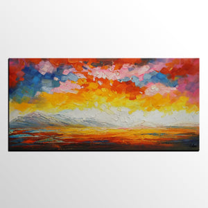Canvas Art, Abstract Art, Sunrise Landscape Painting, Large Artwork