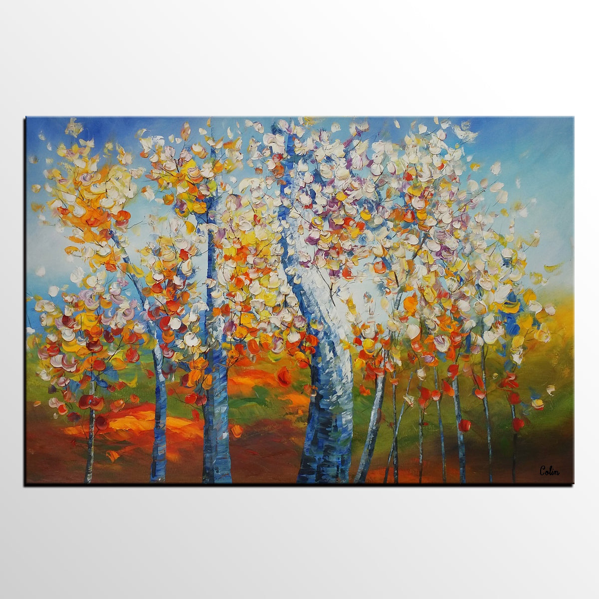 Birch Tree Painting, Heavy Texture Painting, Landscape Painting, Large Art, Canvas Wall Art