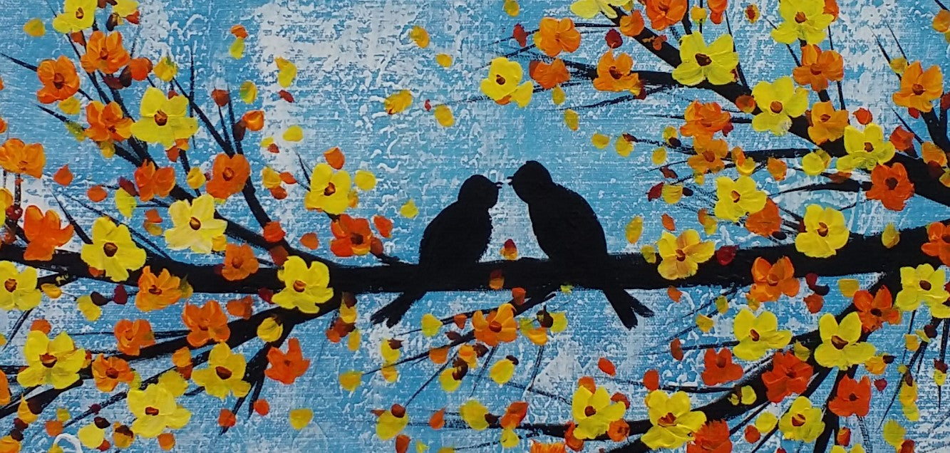 Abstract Art Love, Love Birds Painting, Bedroom Wall Art, Abstract Painting, Large Canvas Art, Wall Art