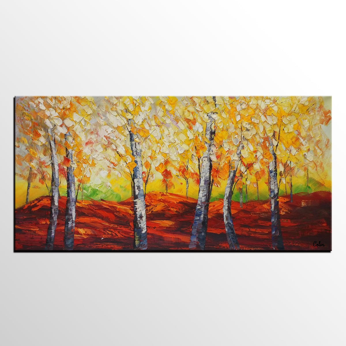 Heavy Texture Art, Autumn Tree Painting, Large Wall Art, Canvas Wall Art, Abstract Art, Large Abstract Painting, Original Painting