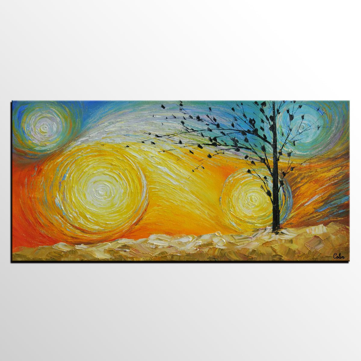 Abstract Art for Sale, Canvas Wall Art, Tree of Life Painting, Heavy Texture Canvas Art