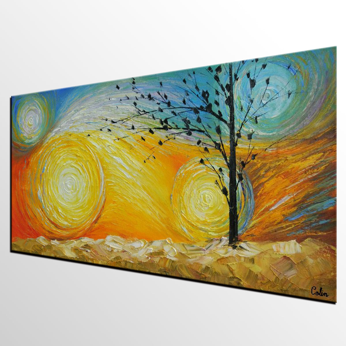 Abstract Art, Canvas Wall Art, Tree of Life Painting, Heavy Texture Canvas Art