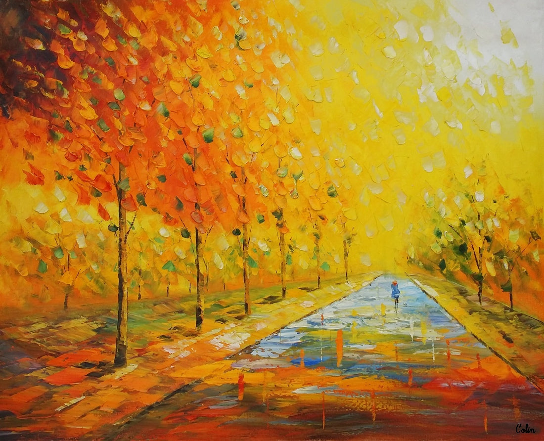 Home Art, Canvas Art, Autumn Tree Painting, Bedroom Painting, Wall Art, Abstract Artwork, Modern Art