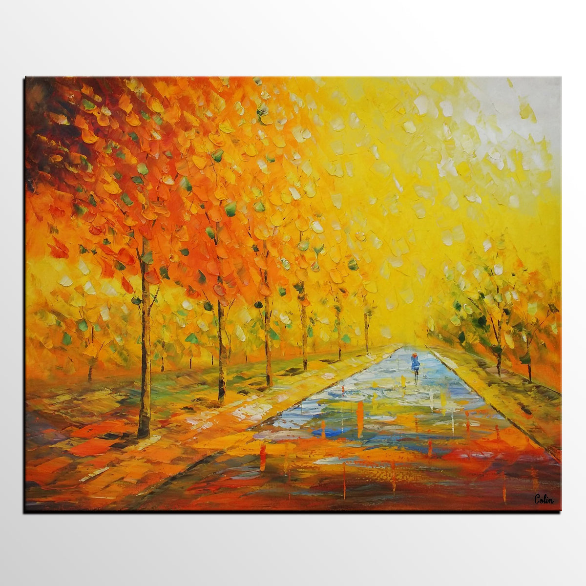 Home Art, Canvas Art, Autumn Tree Painting, Bedroom Painting, Wall Art, Abstract Artwork, Modern Art - artworkcanvas