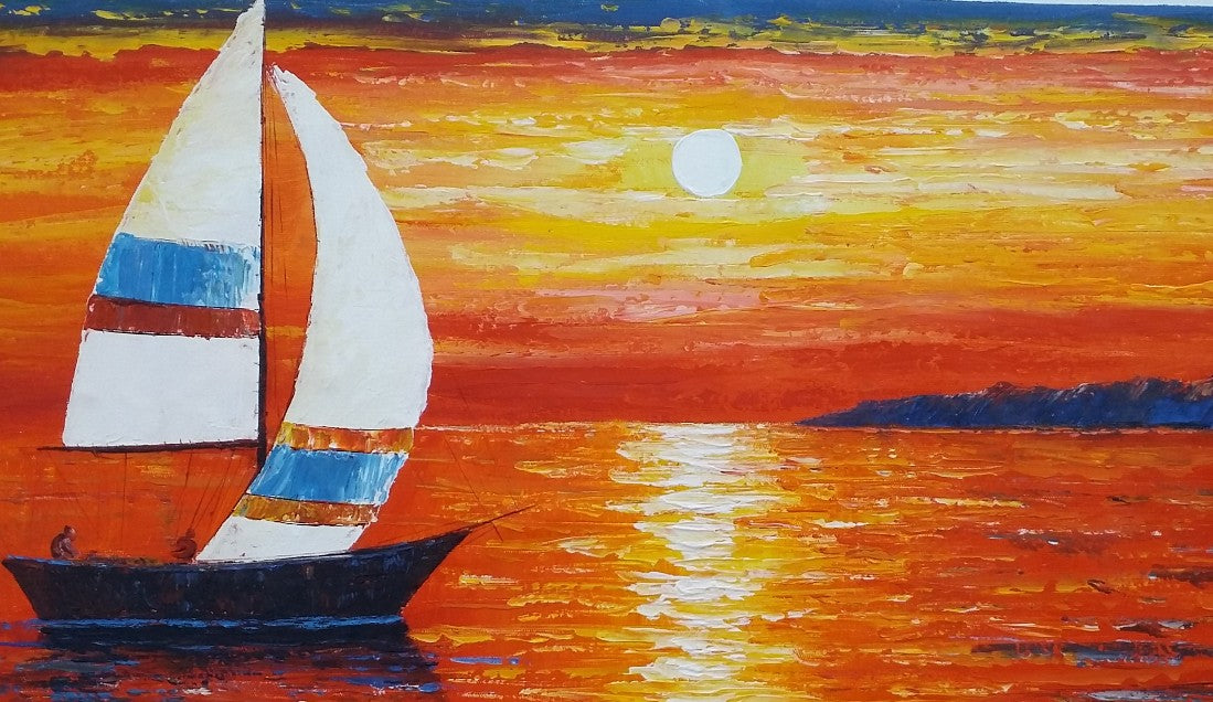 Seascape Painting, Sail Boat Painting, Large Art, Canvas Art, Wall Art, Original Artwork, Canvas Painting, Large Art, 407