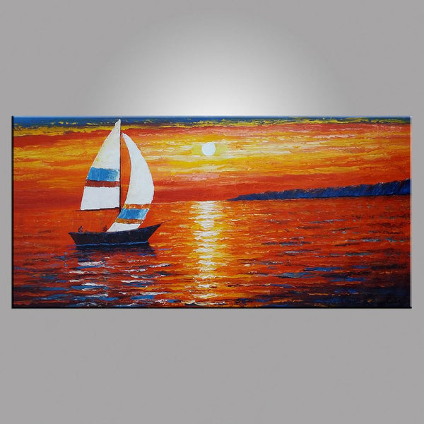 Seascape Painting, Sail Boat Painting, Large Art, Canvas Art, Wall Art, Original Artwork, Canvas Painting, Large Art, 407 - artworkcanvas