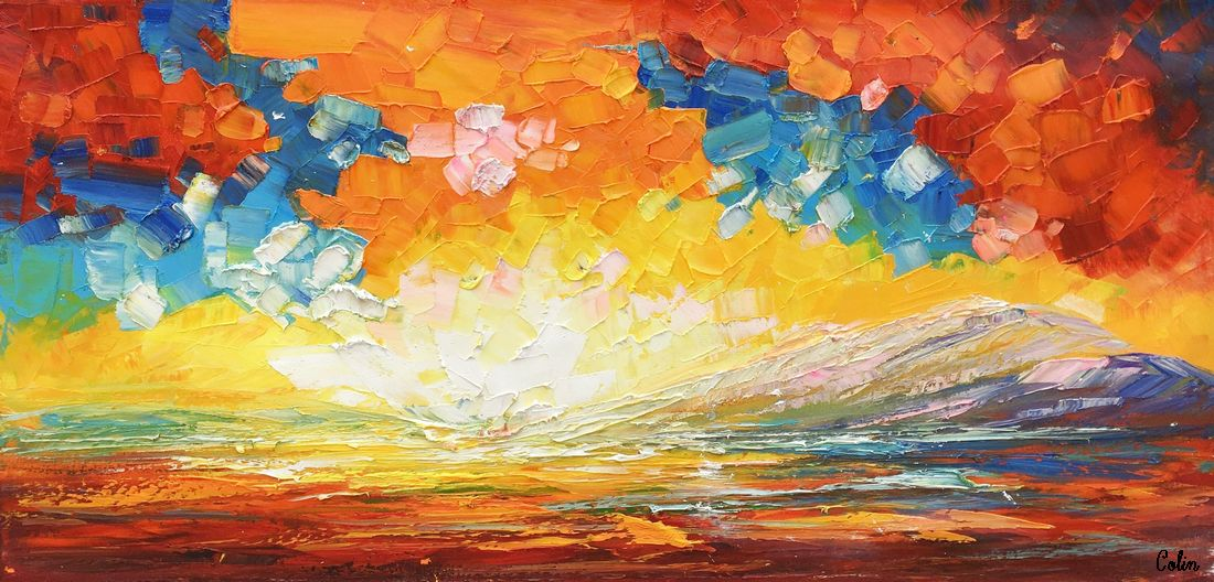 Landscape Painting, Abstract Art,  Canvas Painting, Heavy Texture Painting