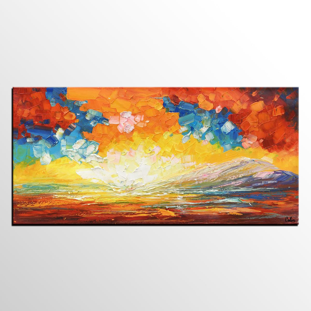 Landscape Painting, Abstract Art, Canvas Painting, Heavy Texture Painting - artworkcanvas