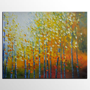 Canvas Painting, Oil Painting, Autumn Tree Landscape Art, Painting for Sale